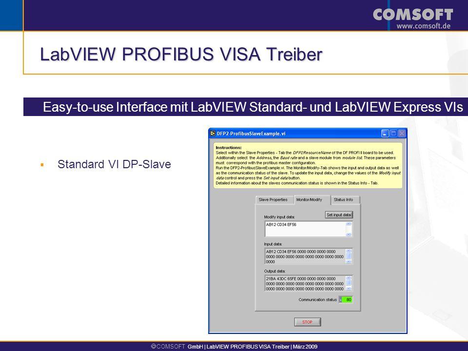 COMSOFT GmbH | LabVIEW PROFIBUS VISA Treiber | März 2009 LabVIEW PROFIBUS VISA Treiber Easy-to-use Interface mit LabVIEW Standard- und LabVIEW Express VIs Express VI DP-Master