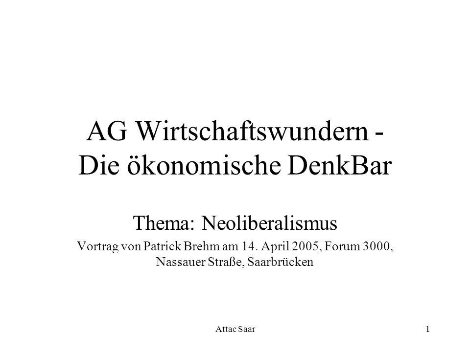 Attac Saar1 AG Wirtschaftswundern - Die ökonomische DenkBar Thema: Neoliberalismus Vortrag von Patrick Brehm am 14. April 2005, Forum 3000, Nassauer S