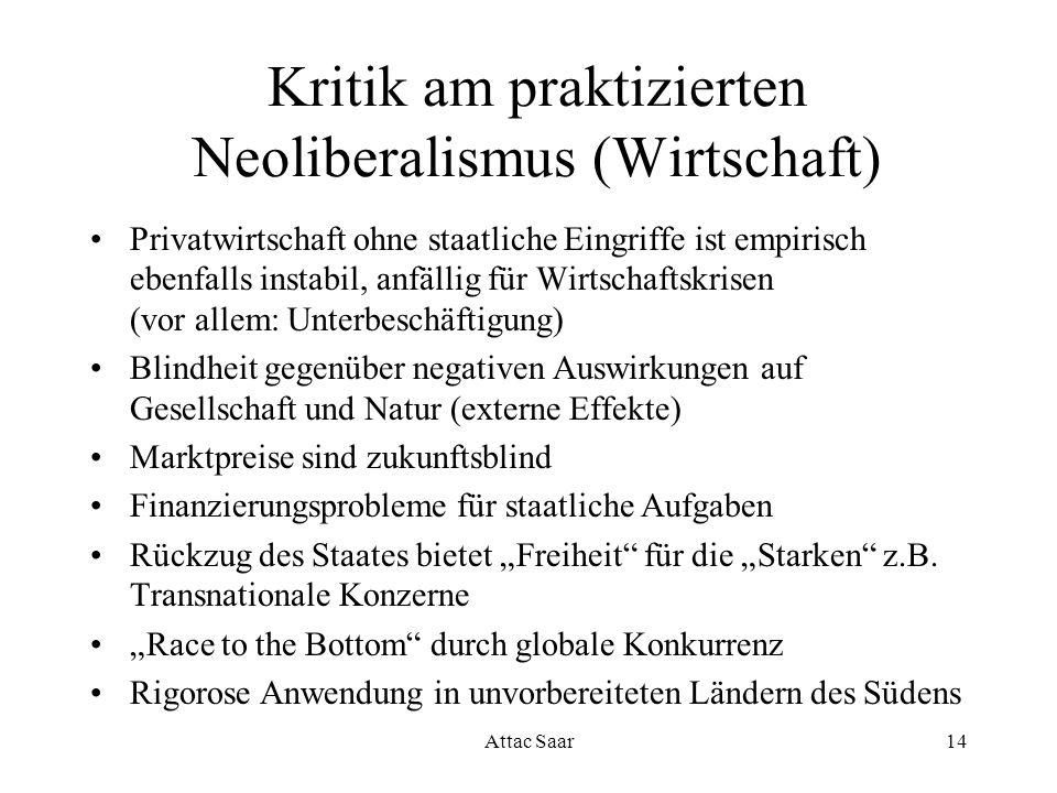 Attac Saar14 Kritik am praktizierten Neoliberalismus (Wirtschaft) Privatwirtschaft ohne staatliche Eingriffe ist empirisch ebenfalls instabil, anfälli