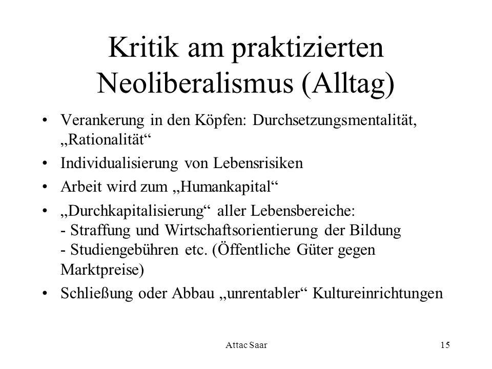 Attac Saar15 Kritik am praktizierten Neoliberalismus (Alltag) Verankerung in den Köpfen: Durchsetzungsmentalität, Rationalität Individualisierung von