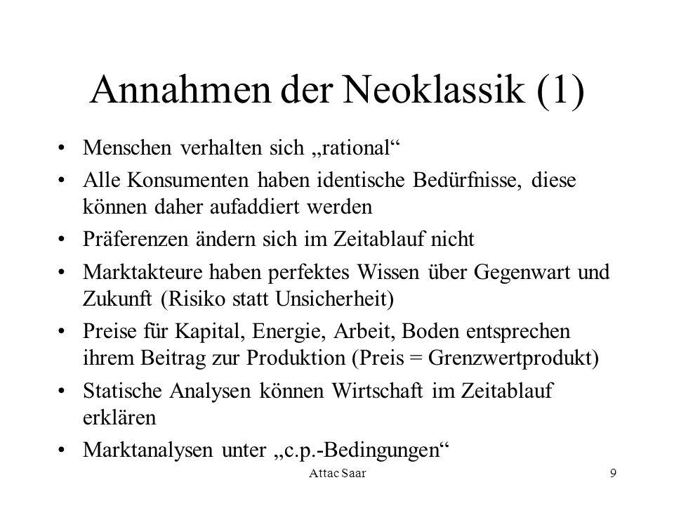 Attac Saar9 Annahmen der Neoklassik (1) Menschen verhalten sich rational Alle Konsumenten haben identische Bedürfnisse, diese können daher aufaddiert