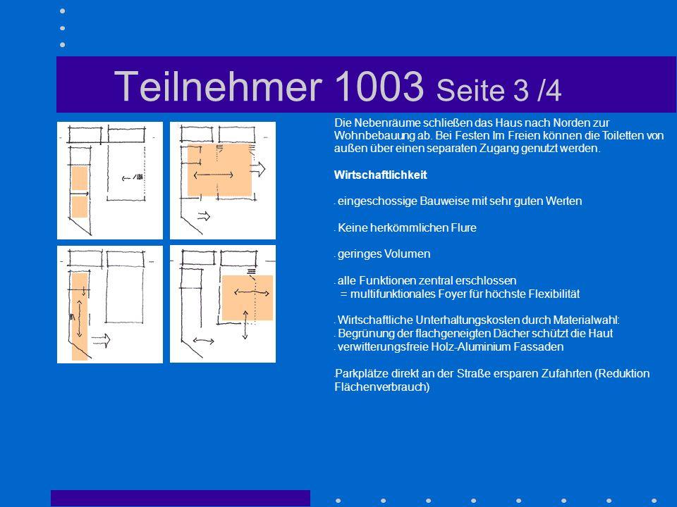 Teilnehmer 1003 Seite 3 /4 Die Nebenräume schließen das Haus nach Norden zur Wohnbebauung ab. Bei Festen Im Freien können die Toiletten von außen über