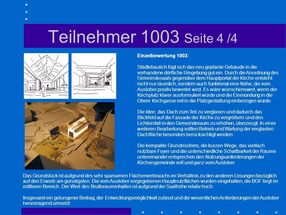 Teilnehmer 1003 Seite 4 /4 Einzelbewertung 1003: Städtebaulich fügt sich das neu geplante Gebäude in die vorhandene dörfliche Umgebung gut ein. Durch