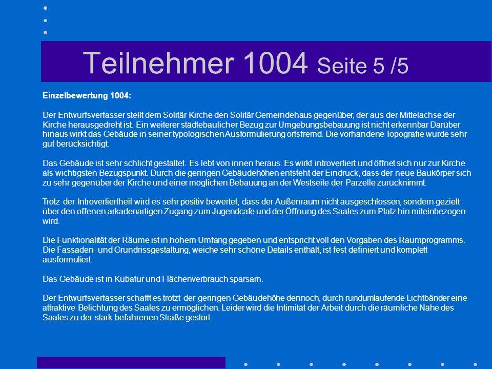 Teilnehmer 1004 Seite 5 /5 Einzelbewertung 1004: Der Entwurfsverfasser stellt dem Solitär Kirche den Solitär Gemeindehaus gegenüber, der aus der Mitte