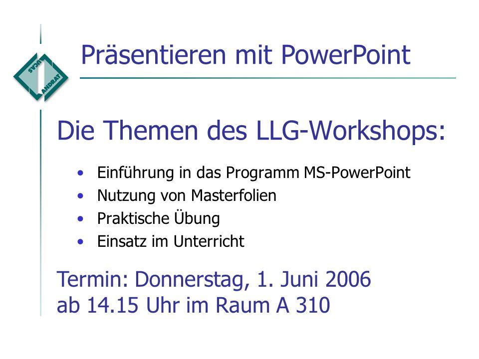 Die Themen des LLG-Workshops: Termin: Mittwoch, 31. Mai 2006 ab 14.15 Uhr im Raum A 310 Sicheres Arbeiten am PC [A][A]Virenschutz, Firewall, Registry-