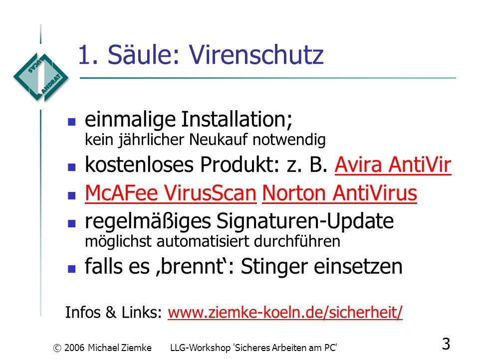 © 2006 Michael ZiemkeLLG-Workshop Sicheres Arbeiten am PC 13 Browser-Nutzung: Gefahren sichere Verbindung zu Login-Seiten nie über Links einer eMail aufbauen; die gefälschten Seiten sind häufig täuschend echt; eMail- und Formular-Beispiele: eBay, PostbankBeispiele sensible Daten nur über gesicherte Verbindung senden (https://…) dabei auf Sicherheitszertifikat achten (rechts unten) echte Login-Beispielseiten: eBay, PostbankeBayPostbank