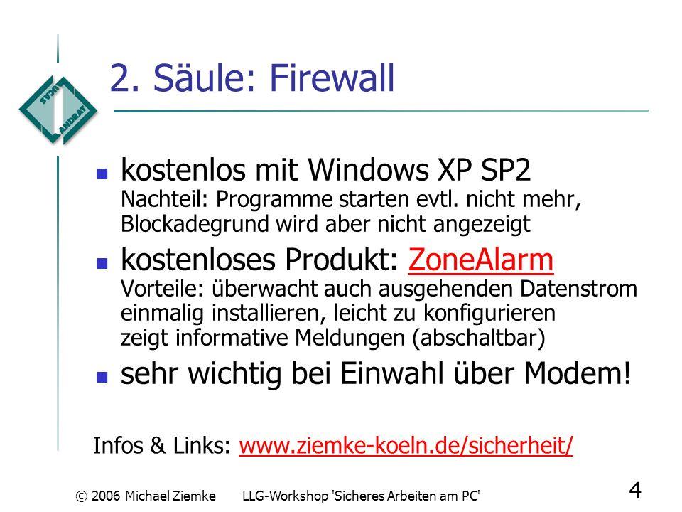 © 2006 Michael ZiemkeLLG-Workshop 'Sicheres Arbeiten am PC' 3 1. Säule: Virenschutz einmalige Installation; kein jährlicher Neukauf notwendig kostenlo