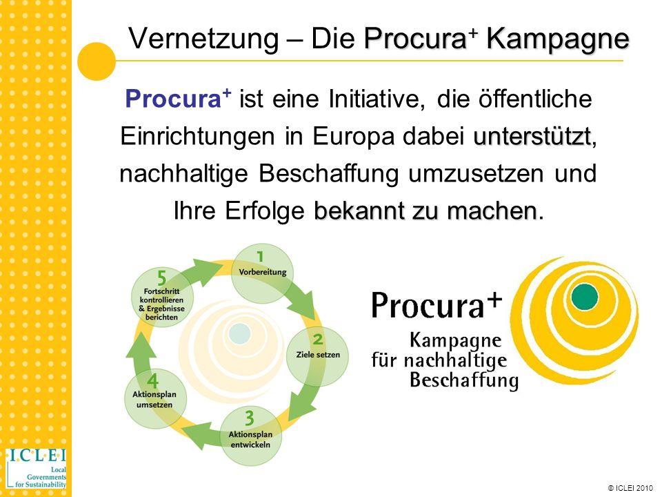© ICLEI 2010 SMART SPP - Pilotaktionen Pilot pre-procurement und Ausschreibungen: Eastern Shires Purchasing Organisation (ESPO), UK London Borough of Bromley, UK Stadt Barcelona, Spanien Stadt Kolding, Dänemark Energieagentur Cascais, Portugal Stadt Torres Vedras, Portugal (assoziiert) Stadt London (GLA), UK (assoziiert) Städte in Österreich zusammen mit VITE-IT Cluster Wien, ZiT Wien und prove Consulting (assoziiert) Jeder Teilnehmer wird mindestens eine Ausschreibung unter Verwendung des SMART SPP Ansatzes bis Juni 2011 durchführen.