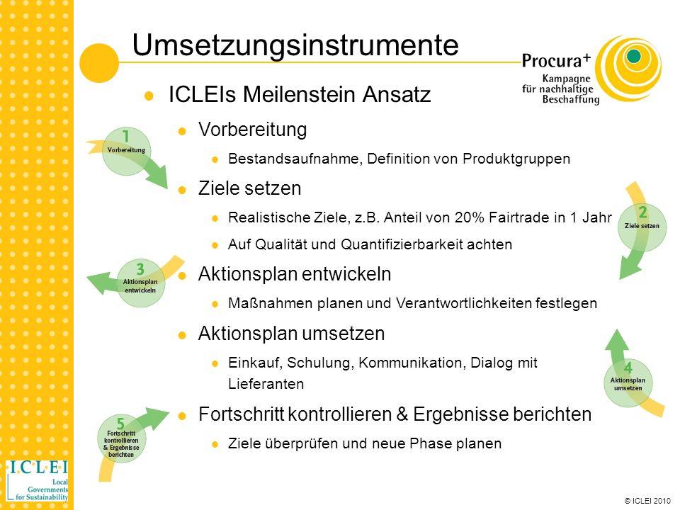 © ICLEI 2010 Umsetzungsinstrumente ICLEIs Meilenstein Ansatz Vorbereitung Bestandsaufnahme, Definition von Produktgruppen Ziele setzen Realistische Ziele, z.B.