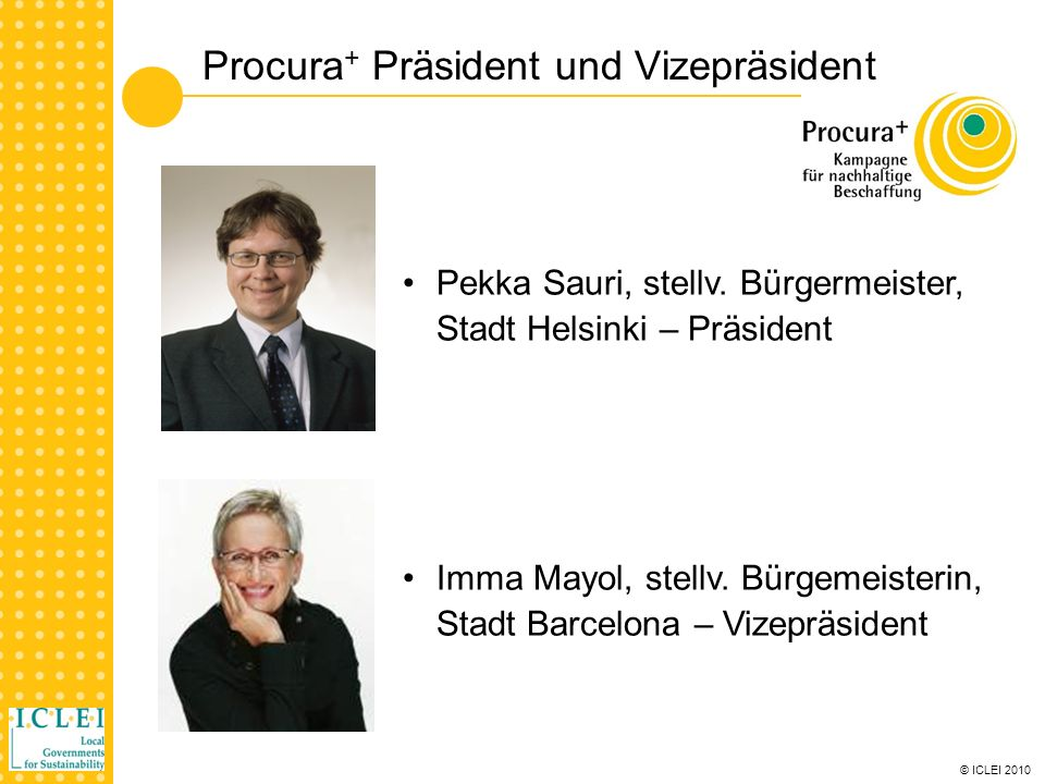 © ICLEI 2010 Procura + Teilnehmer n 30 teilnehmende Städte und Organisationen in 10 Ländern n 9 unterstützende nationale Partnerorganisationen n Kleine (15,000 EW) bis große Städte/Regionen (7 Mio.