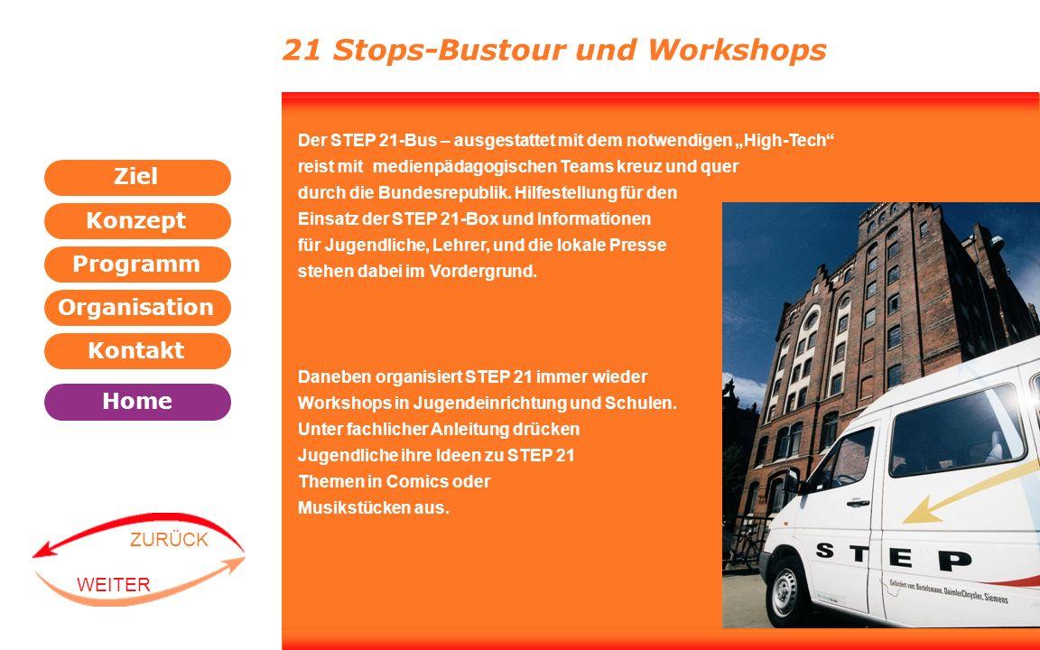 Programm Organisation Kontakt Konzept Ziel Home WEITER ZURÜCK Der STEP 21-Bus – ausgestattet mit dem notwendigen High-Tech reist mit medienpädagogisch