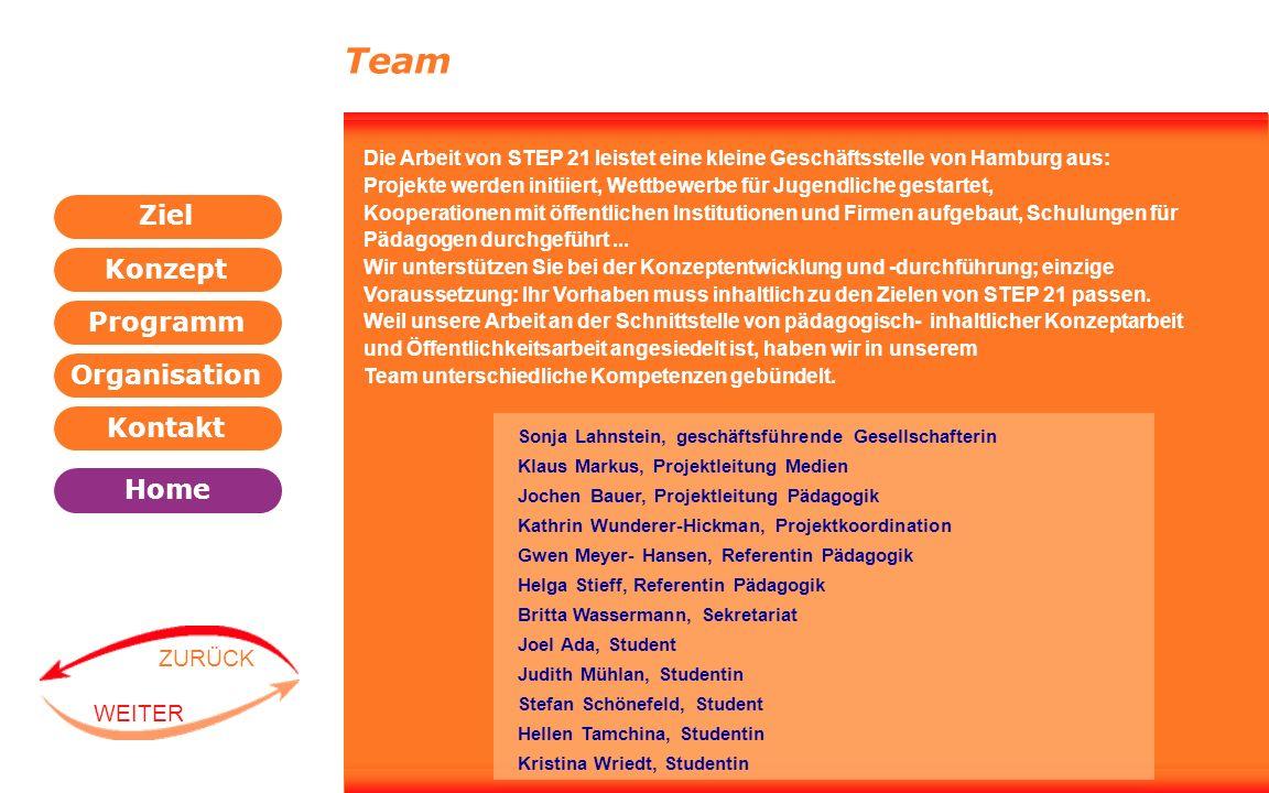 Programm Organisation Kontakt Konzept Ziel Home WEITER ZURÜCK Team Sonja Lahnstein, geschäftsführende Gesellschafterin Klaus Markus, Projektleitung Me