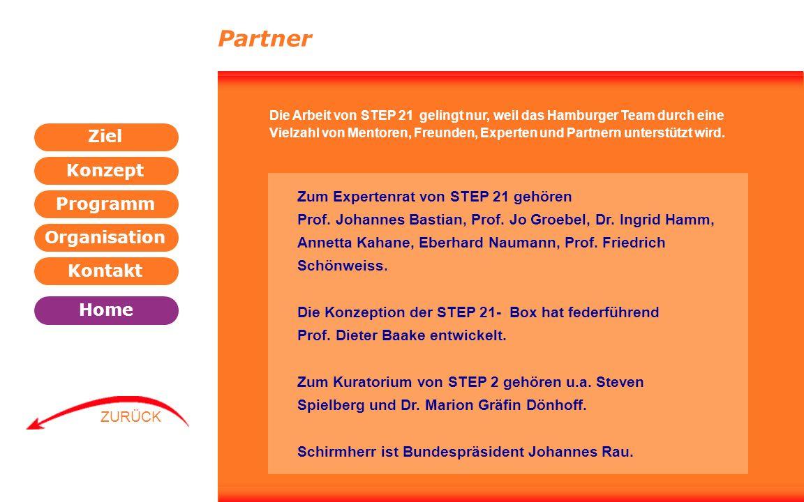 Programm Organisation Kontakt Konzept Ziel Home WEITER ZURÜCK Partner Zum Expertenrat von STEP 21 gehören Prof. Johannes Bastian, Prof. Jo Groebel, Dr