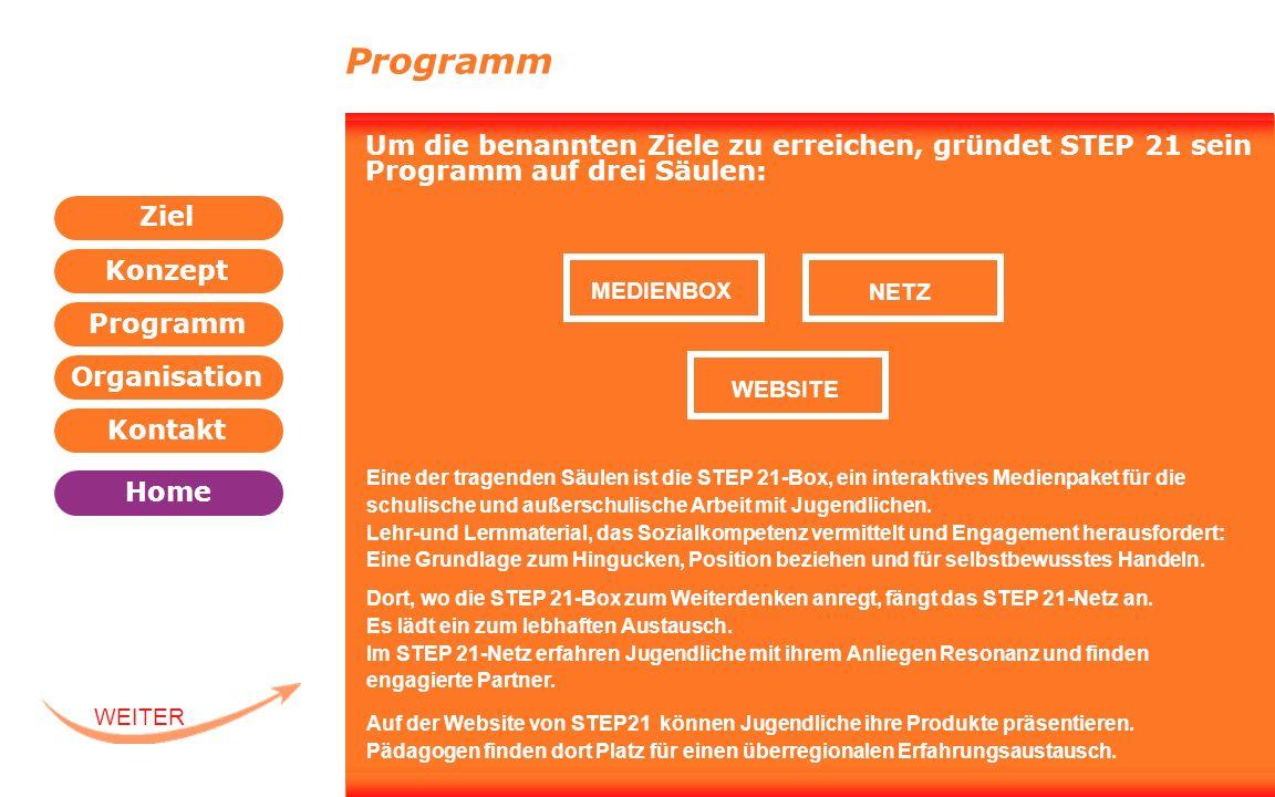 Programm Organisation Kontakt Konzept Ziel Home WEITER ZURÜCK WEBSITE Programm Um die benannten Ziele zu erreichen, gründet STEP 21 sein Programm auf