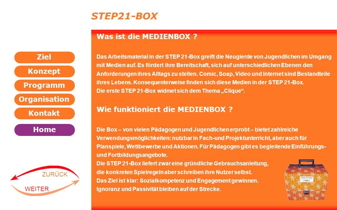 Programm Organisation Kontakt Konzept Ziel Home WEITER ZURÜCK STEP21-BOX Was ist die MEDIENBOX ? Das Arbeitsmaterial in der STEP 21-Box greift die Neu