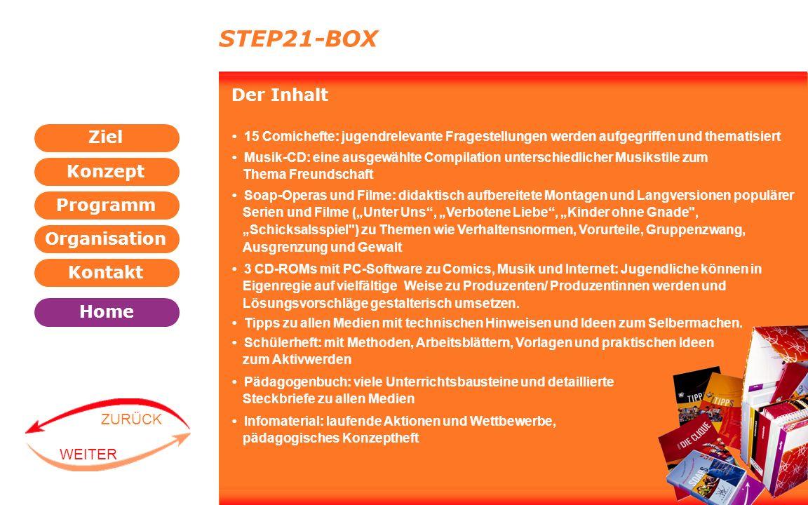 Programm Organisation Kontakt Konzept Ziel Home WEITER ZURÜCK STEP21-BOX Der Inhalt 15 Comichefte: jugendrelevante Fragestellungen werden aufgegriffen