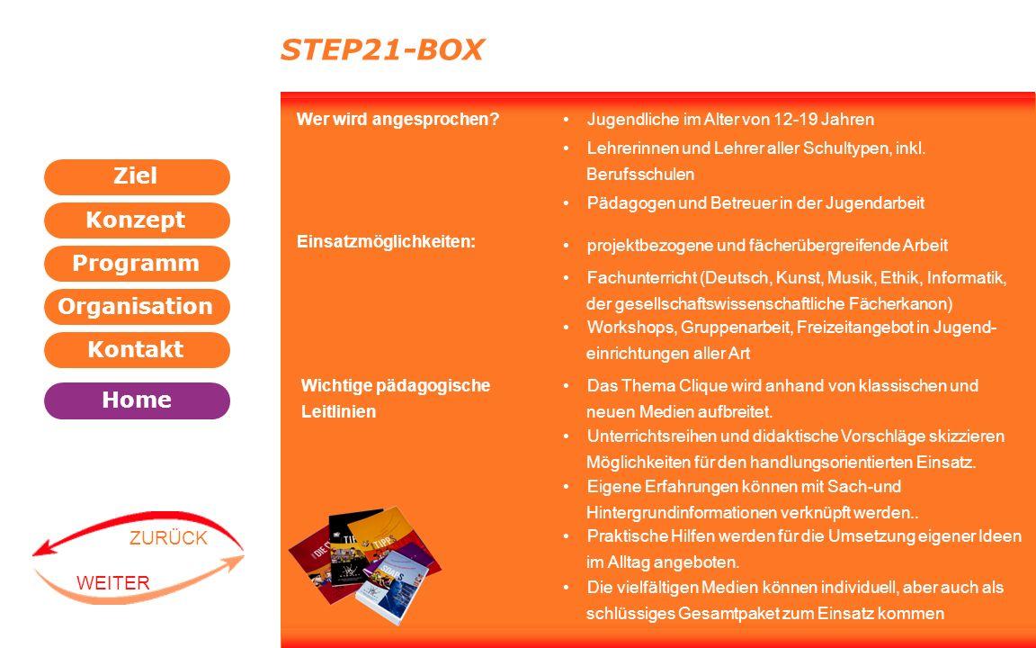 Programm Organisation Kontakt Konzept Ziel Home WEITER ZURÜCK STEP21-BOX Wer wird angesprochen? Jugendliche im Alter von 12-19 Jahren projektbezogene