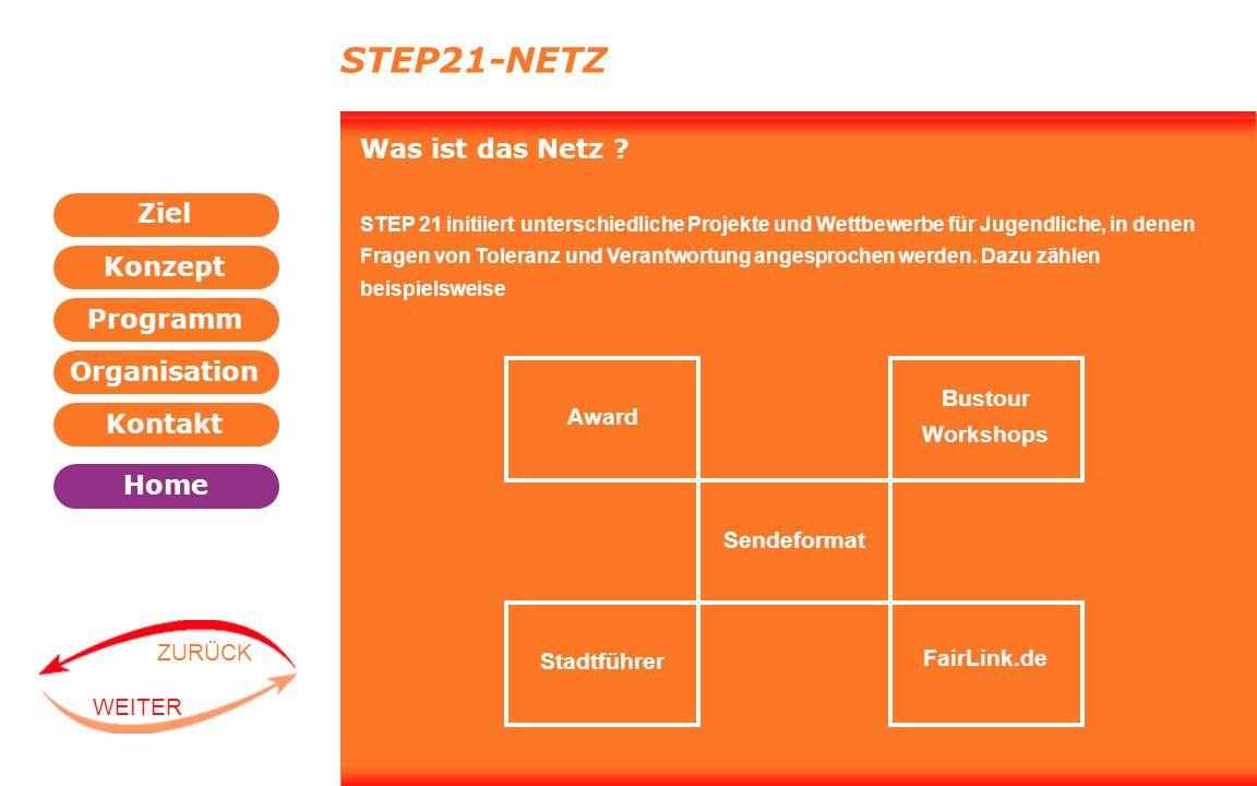 Programm Organisation Kontakt Konzept Ziel Home WEITER ZURÜCK STEP21-NETZ Was ist das Netz ? STEP 21 initiiert unterschiedliche Projekte und Wettbewer