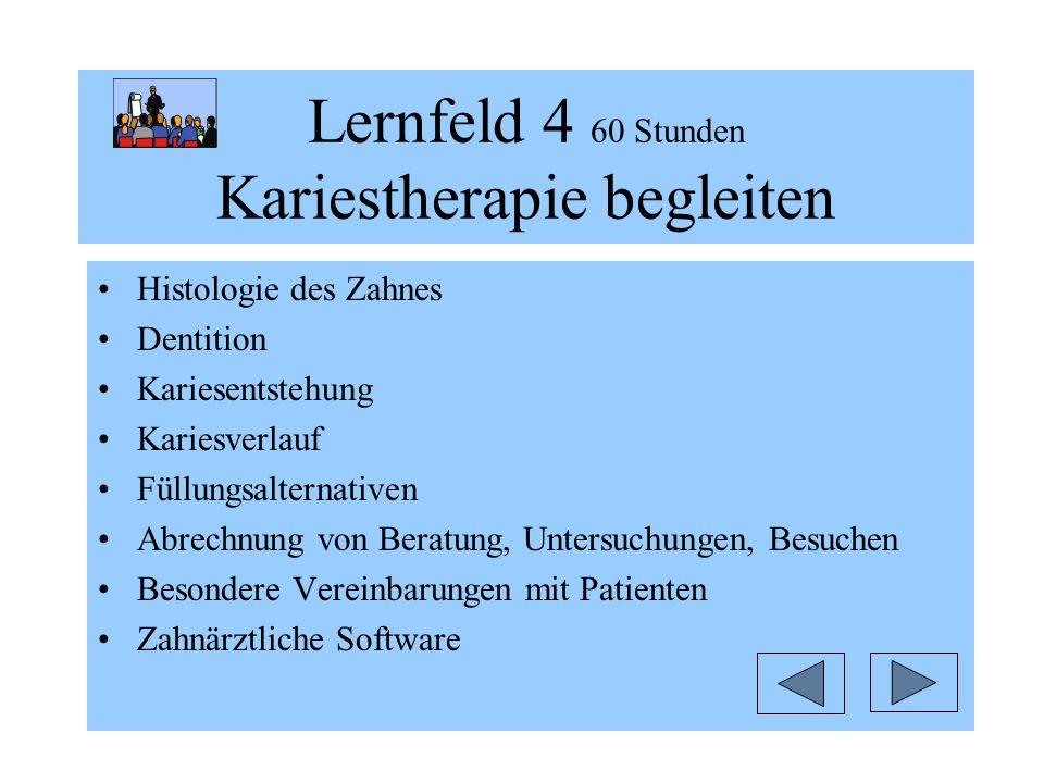 Lernfeld 4 60 Stunden Kariestherapie begleiten Histologie des Zahnes Dentition Kariesentstehung Kariesverlauf Füllungsalternativen Abrechnung von Bera