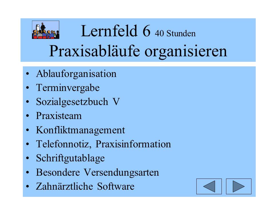 Lernfeld 6 40 Stunden Praxisabläufe organisieren Ablauforganisation Terminvergabe Sozialgesetzbuch V Praxisteam Konfliktmanagement Telefonnotiz, Praxi