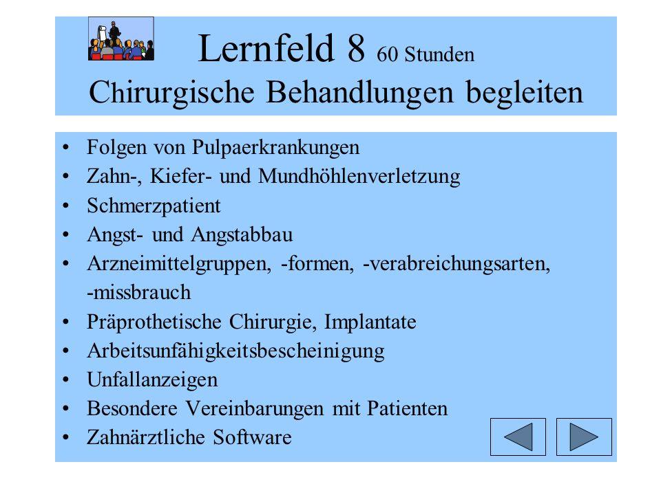 Lernfeld 8 60 Stunden C h irurgische Behandlungen begleiten Folgen von Pulpaerkrankungen Zahn-, Kiefer- und Mundhöhlenverletzung Schmerzpatient Angst-