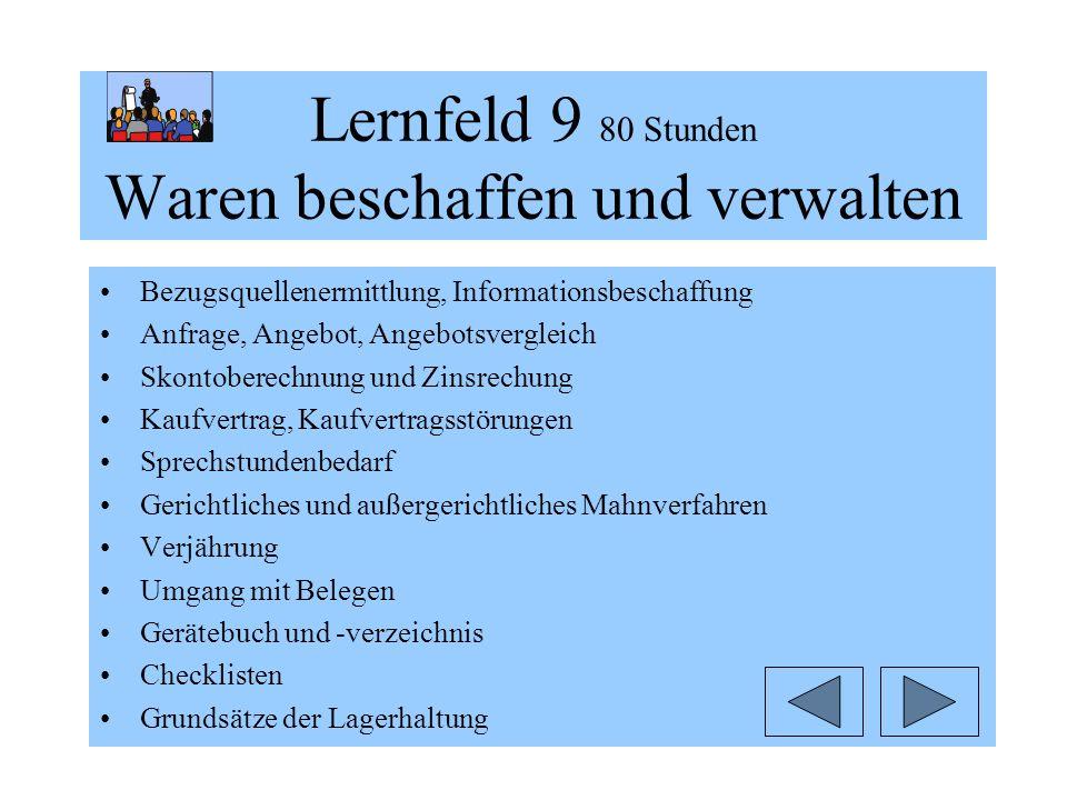 Lernfeld 9 80 Stunden Waren beschaffen und verwalten Bezugsquellenermittlung, Informationsbeschaffung Anfrage, Angebot, Angebotsvergleich Skontoberech