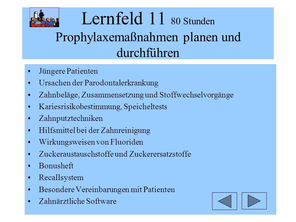 Lernfeld 11 80 Stunden Prophylaxemaßnahmen planen und durchführen Jüngere Patienten Ursachen der Parodontalerkrankung Zahnbeläge, Zusammensetzung und
