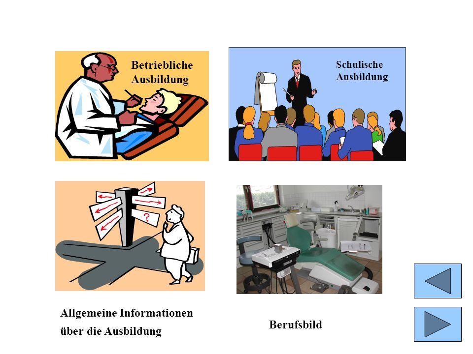 Allgemeine Informationen über die Ausbildung Betriebliche Ausbildung Schulische Ausbildung Berufsbild Betriebliche Ausbildung