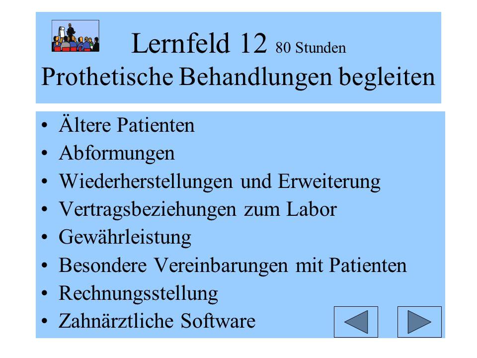 Lernfeld 12 80 Stunden Prothetische Behandlungen begleiten Ältere Patienten Abformungen Wiederherstellungen und Erweiterung Vertragsbeziehungen zum Labor Gewährleistung Besondere Vereinbarungen mit Patienten Rechnungsstellung Zahnärztliche Software