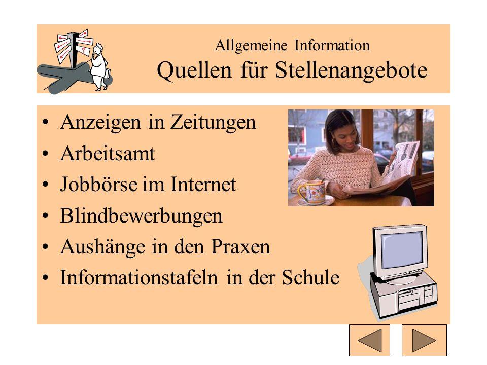 Allgemeine Information Quellen für Stellenangebote Anzeigen in Zeitungen Arbeitsamt Jobbörse im Internet Blindbewerbungen Aushänge in den Praxen Infor