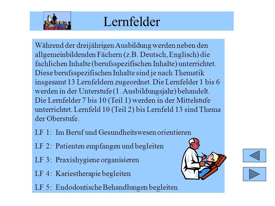 Lernfelder Während der dreijährigen Ausbildung werden neben den allgemeinbildenden Fächern (z.B. Deutsch, Englisch) die fachlichen Inhalte (berufsspez