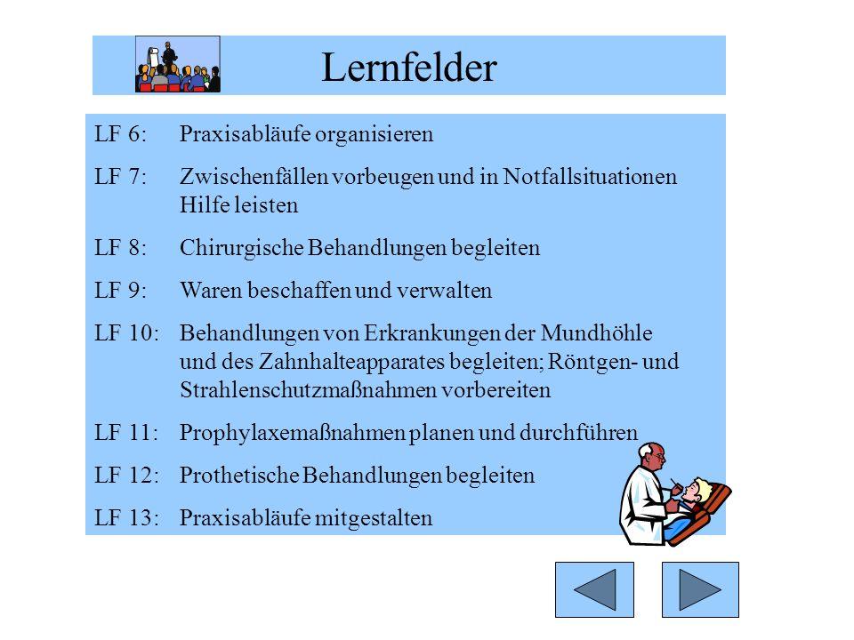 LF 6: Praxisabläufe organisieren LF 7: Zwischenfällen vorbeugen und in Notfallsituationen Hilfe leisten LF 8: Chirurgische Behandlungen begleiten LF 9: Waren beschaffen und verwalten LF 10: Behandlungen von Erkrankungen der Mundhöhle und des Zahnhalteapparates begleiten; Röntgen- und Strahlenschutzmaßnahmen vorbereiten LF 11: Prophylaxemaßnahmen planen und durchführen LF 12: Prothetische Behandlungen begleiten LF 13: Praxisabläufe mitgestalten Lernfelder