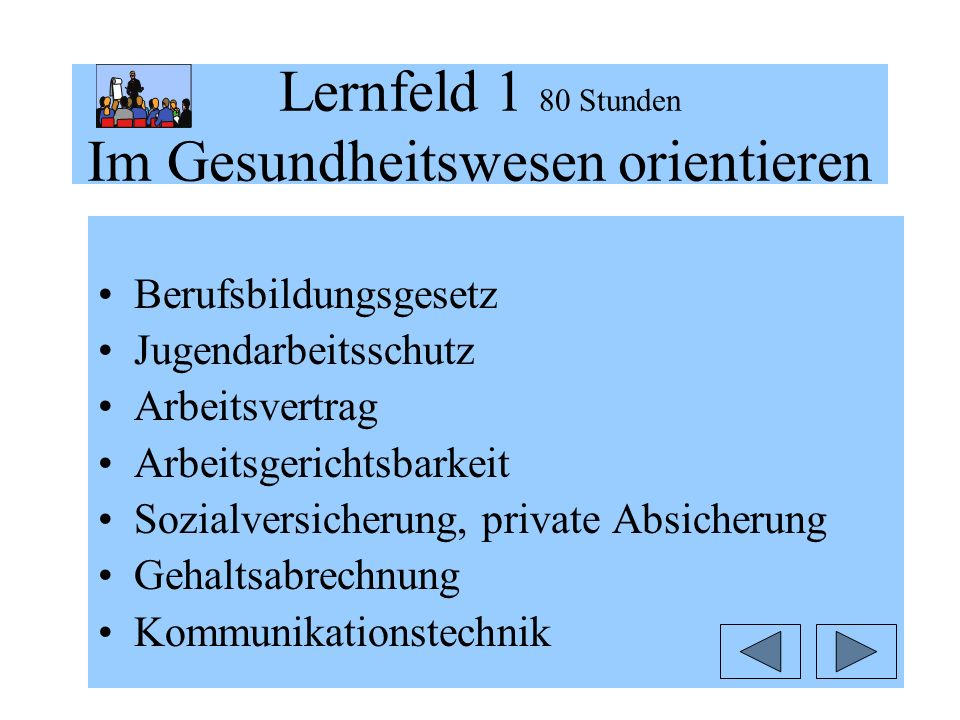 Lernfeld 1 80 Stunden Im Gesundheitswesen orientieren Berufsbildungsgesetz Jugendarbeitsschutz Arbeitsvertrag Arbeitsgerichtsbarkeit Sozialversicherung, private Absicherung Gehaltsabrechnung Kommunikationstechnik