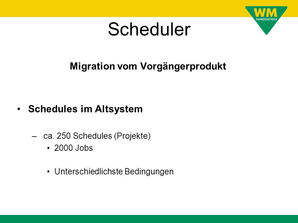 Scheduler Migration vom Vorgängerprodukt Schedules im Altsystem – ca. 250 Schedules (Projekte) 2000 Jobs Unterschiedlichste Bedingungen