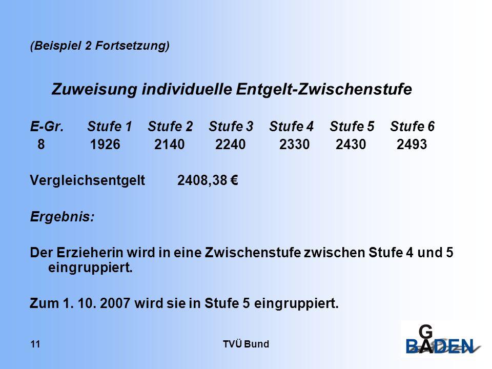 TVÜ Bund 11 (Beispiel 2 Fortsetzung) Zuweisung individuelle Entgelt-Zwischenstufe E-Gr.