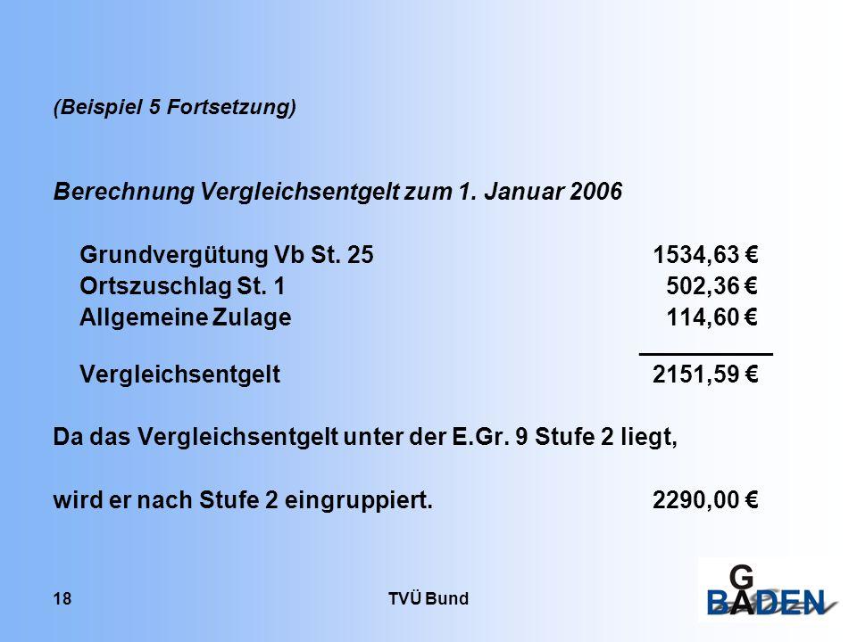 TVÜ Bund 18 (Beispiel 5 Fortsetzung) Berechnung Vergleichsentgelt zum 1. Januar 2006 Grundvergütung Vb St. 251534,63 Ortszuschlag St. 1 502,36 Allgeme