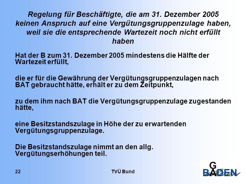 TVÜ Bund 22 Regelung für Beschäftigte, die am 31. Dezember 2005 keinen Anspruch auf eine Vergütungsgruppenzulage haben, weil sie die entsprechende War