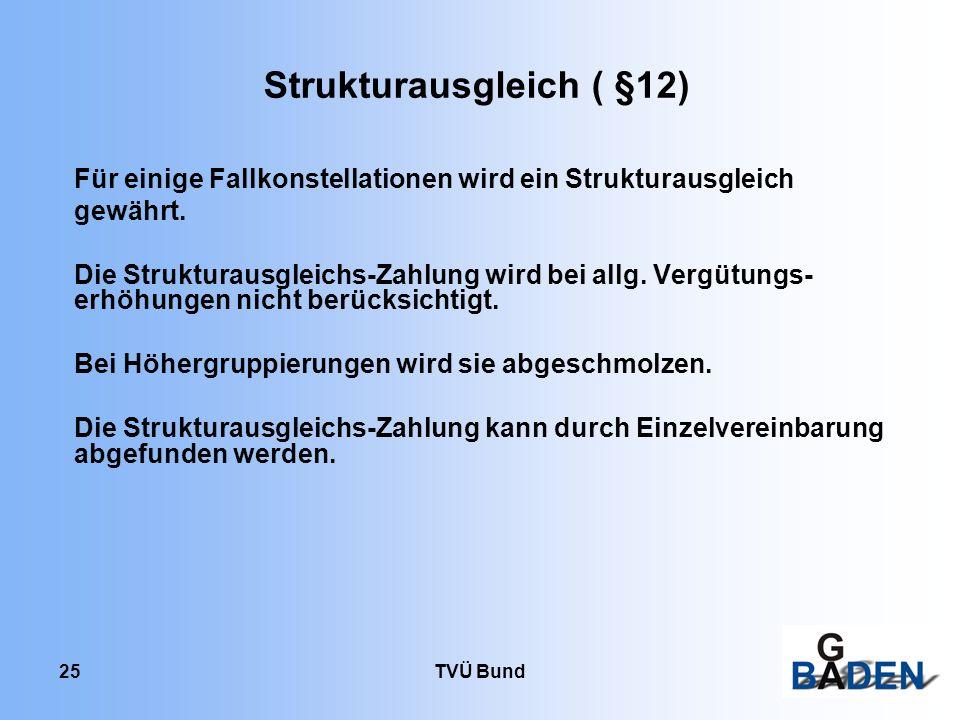 TVÜ Bund 25 Strukturausgleich ( §12) Für einige Fallkonstellationen wird ein Strukturausgleich gewährt. Die Strukturausgleichs-Zahlung wird bei allg.