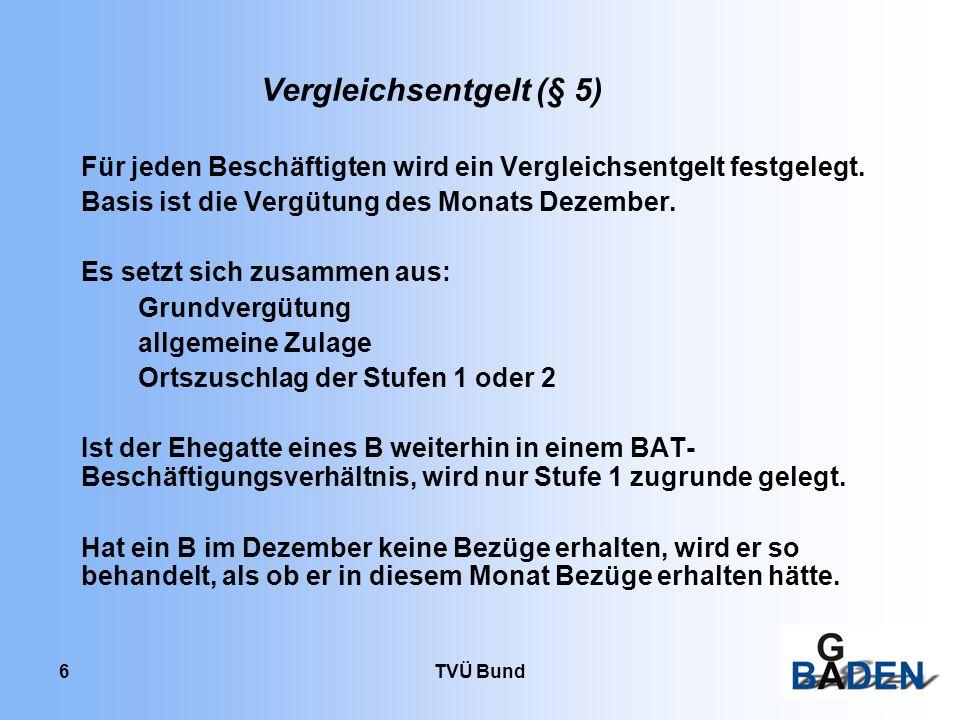 TVÜ Bund 17 Beispiel 5 Sozialpädagoge im Erziehungsdienst, 25 J., ledig, am 1.