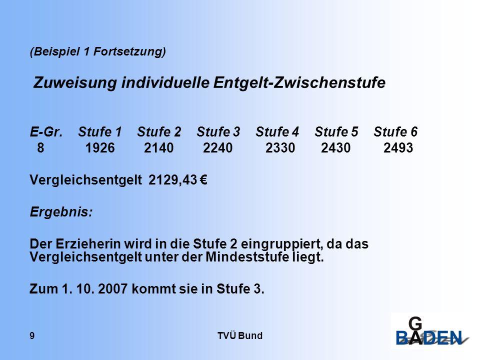 TVÜ Bund 9 (Beispiel 1 Fortsetzung) Zuweisung individuelle Entgelt-Zwischenstufe E-Gr.Stufe 1 Stufe 2 Stufe 3 Stufe 4 Stufe 5 Stufe 6 8 1926 2140 2240