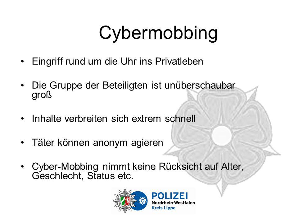 Cybermobbing Eingriff rund um die Uhr ins Privatleben Die Gruppe der Beteiligten ist unüberschaubar groß Inhalte verbreiten sich extrem schnell Täter können anonym agieren Cyber-Mobbing nimmt keine Rücksicht auf Alter, Geschlecht, Status etc.