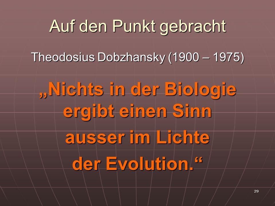 29 Auf den Punkt gebracht Theodosius Dobzhansky (1900 – 1975) Nichts in der Biologie ergibt einen Sinn ausser im Lichte der Evolution.
