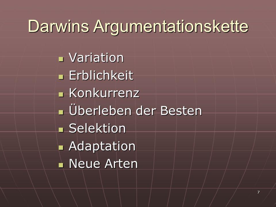 7 Darwins Argumentationskette Variation Variation Erblichkeit Erblichkeit Konkurrenz Konkurrenz Überleben der Besten Überleben der Besten Selektion Se
