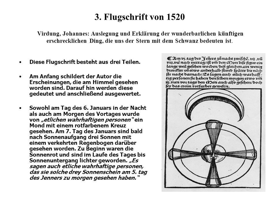 3. Flugschrift von 1520 Virdung, Johannes: Auslegung und Erklärung der wunderbarlichen künftigen erschrecklichen Ding, die uns der Stern mit dem Schwa