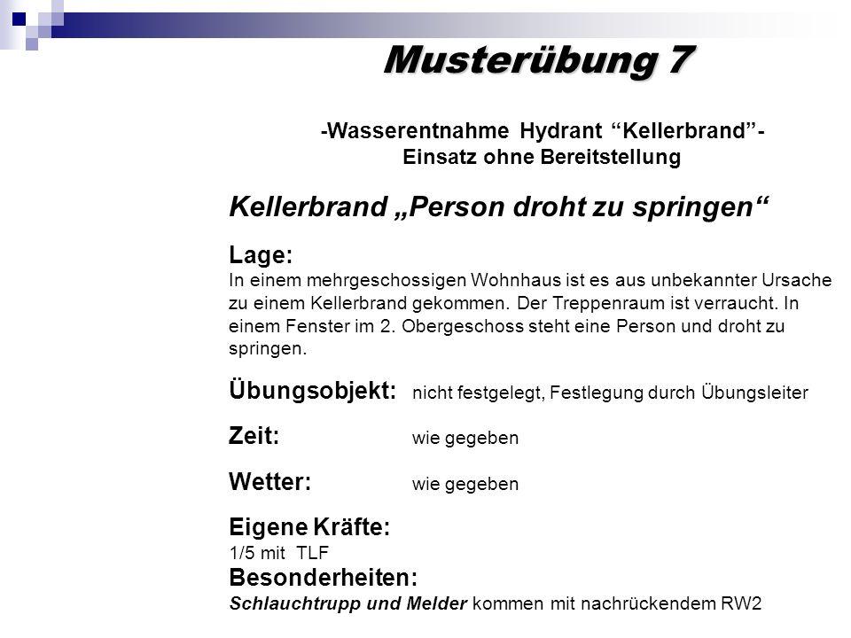 Musterübung 7 -Wasserentnahme Hydrant Kellerbrand- Einsatz ohne Bereitstellung Kellerbrand Person droht zu springen Lage: In einem mehrgeschossigen Wo