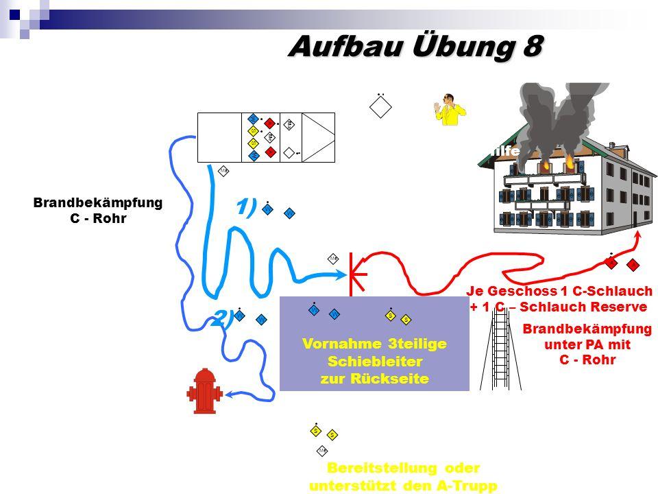 Aufbau Übung 8 W W 1) W W 2) Brandbekämpfung C - Rohr S S Me Bereitstellung oder unterstützt den A-Trupp Einsatz mit Bereitstellung Erkundung durch Gr