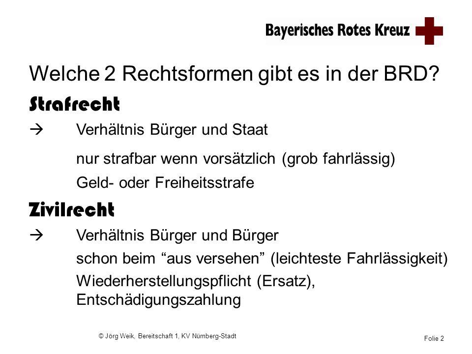 © Jörg Weik, Bereitschaft 1, KV Nürnberg-Stadt Folie 2 Welche 2 Rechtsformen gibt es in der BRD? Strafrecht Verhältnis Bürger und Staat nur strafbar w