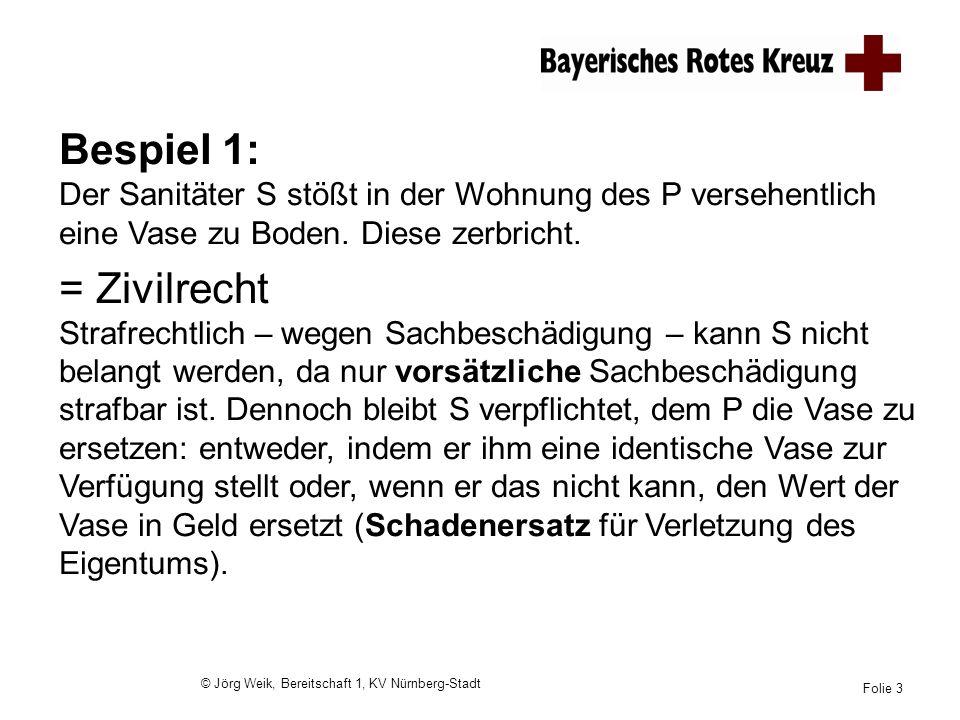 © Jörg Weik, Bereitschaft 1, KV Nürnberg-Stadt Folie 3 Bespiel 1: Der Sanitäter S stößt in der Wohnung des P versehentlich eine Vase zu Boden. Diese z
