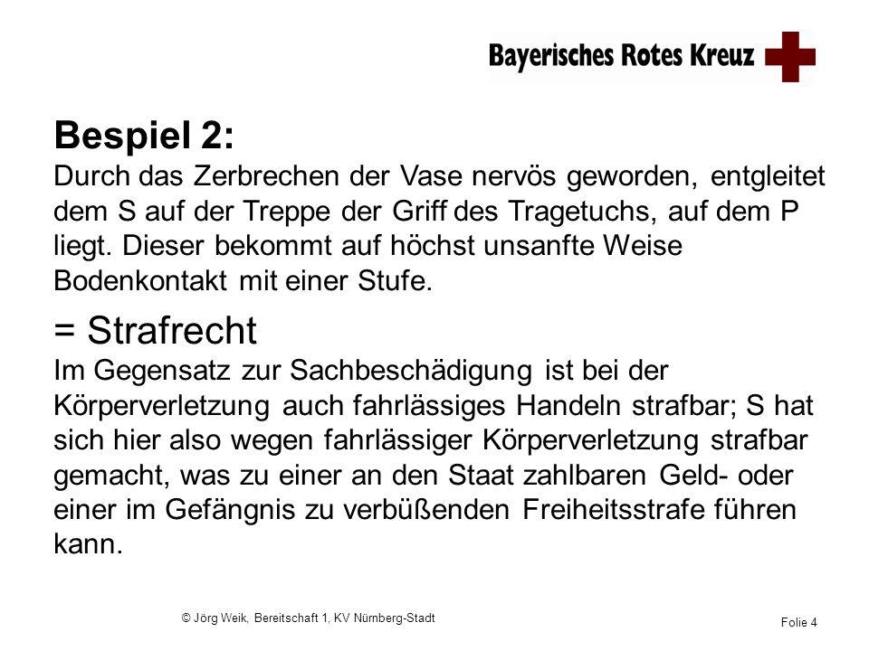 © Jörg Weik, Bereitschaft 1, KV Nürnberg-Stadt Folie 4 Bespiel 2: Durch das Zerbrechen der Vase nervös geworden, entgleitet dem S auf der Treppe der G