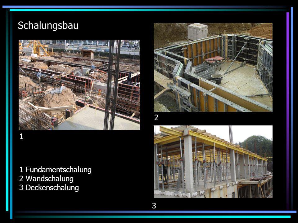 Schalungsbau 1 Fundamentschalung 2 Wandschalung 3 Deckenschalung 1 2 3